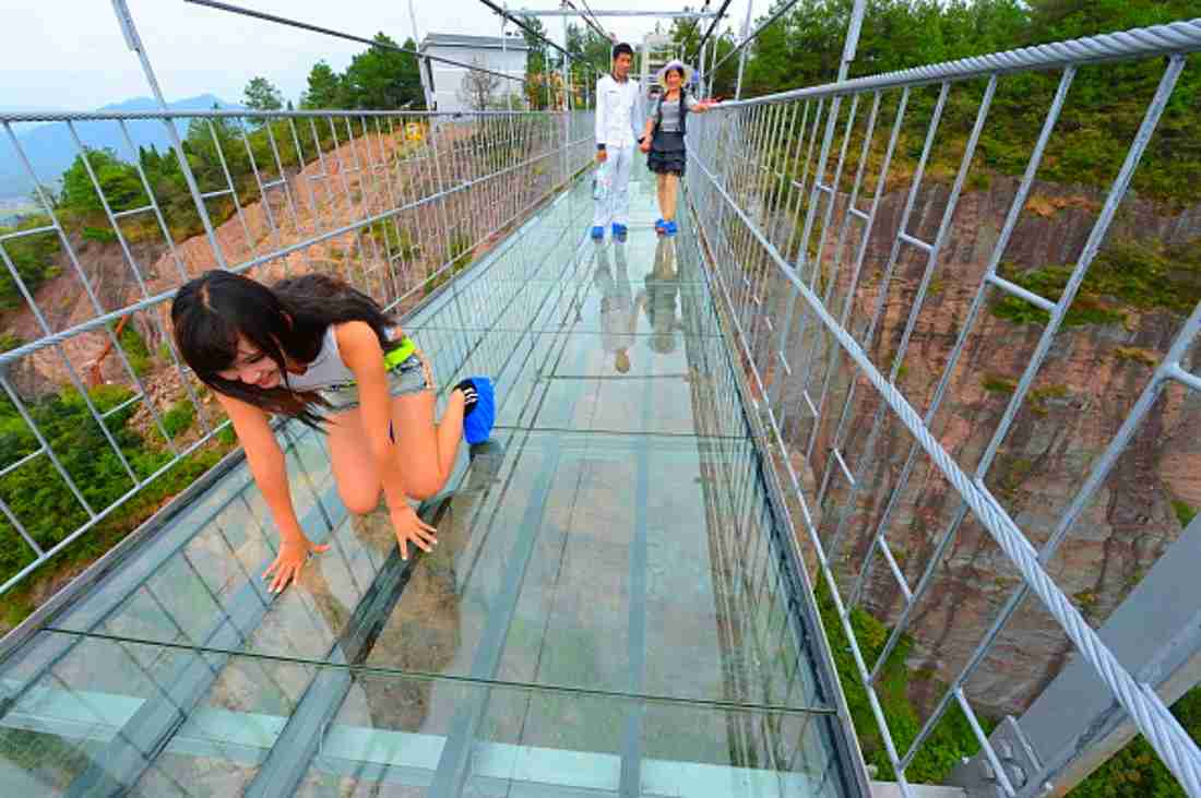 Glass-Bottom Bridge in Shiniuzhai Park