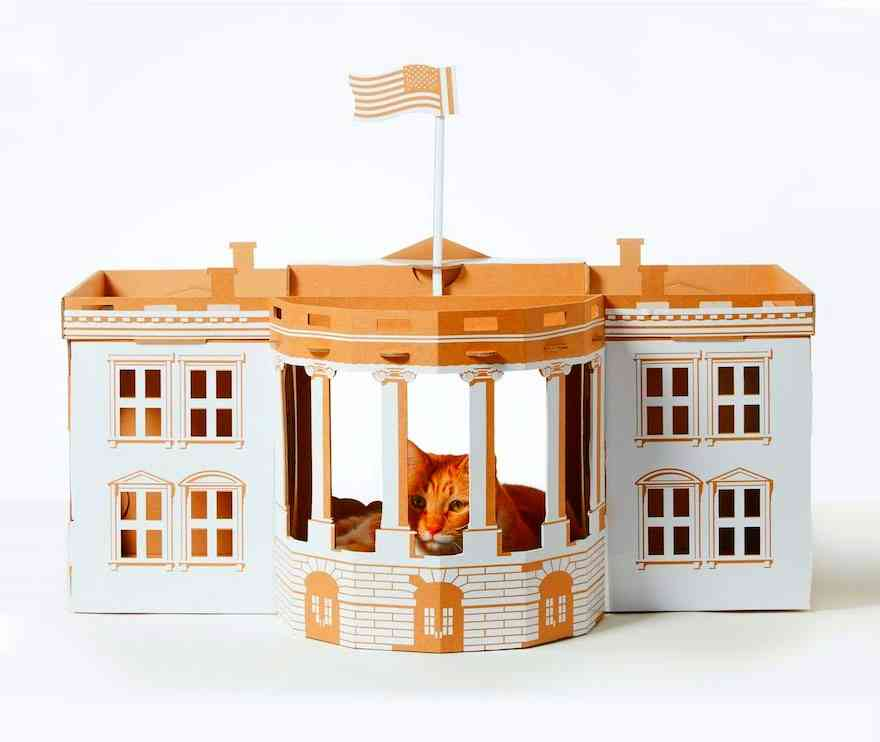 cardboard-cat-houses-white house
